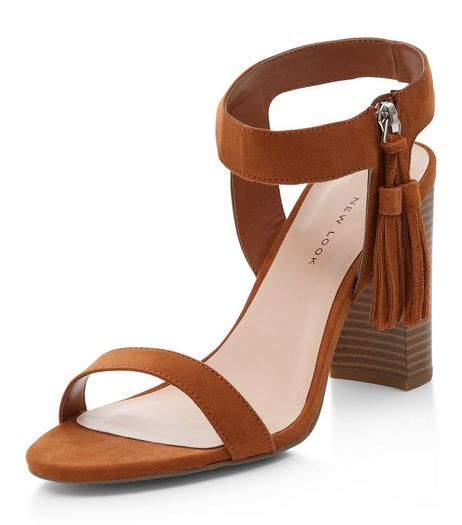 Wide Fit Tan Tassel Side Ankle Strap Block Heels  | New Look