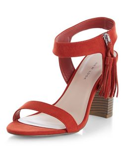 Wide Fit Orange Tassel Side Ankle Strap Block Heels  | New Look