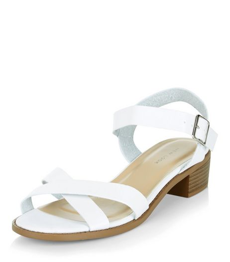 White Cross Strap Sandals | New Look