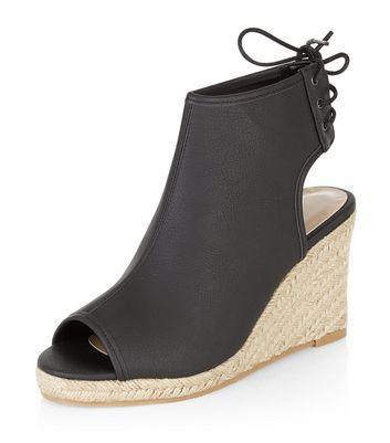 Sandalo  donna Black Faux Leather Peep Toe Espadrille Wedges