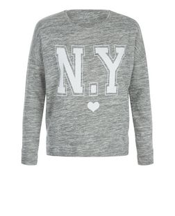 Teens Grey Marl NY Heart Print Sweater | New Look