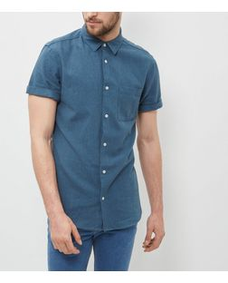Dark Blue Single Pocket Textured Roll Sleeve Shirt  | New Look