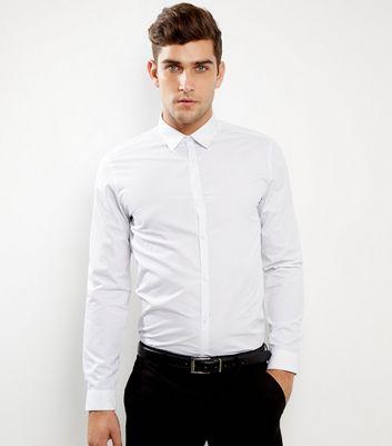 White Pin Dot Print Long Sleeve Shirt
