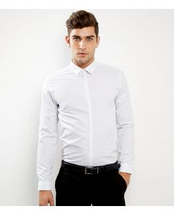 White Pin Dot Print Long Sleeve Shirt | New Look
