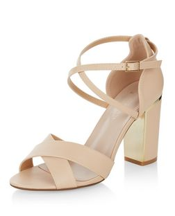 Wide Fit Stone Cross Strap Block Heel Sandals  | New Look