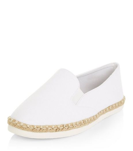 Wide Fit White Canvas Espadrilles  | New Look