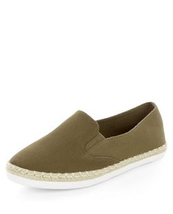Wide Fit Khaki Canvas Espadrilles  | New Look