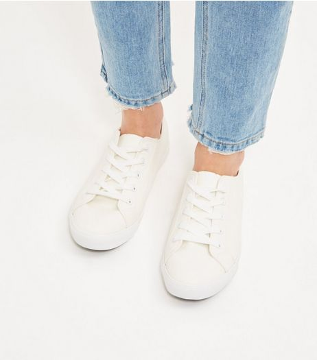 Wide Fit Cream Lace Up Plimsolls  | New Look