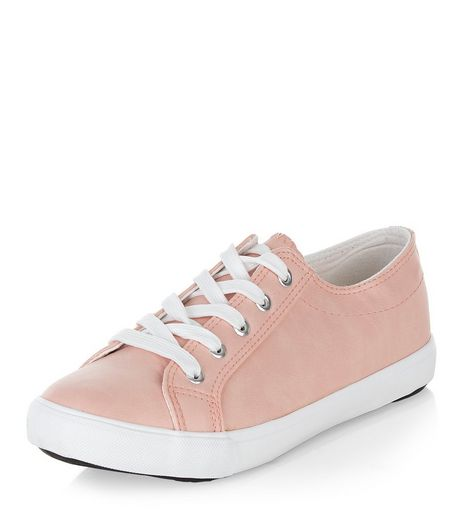 Wide Fit Pink Lace Up Plimsolls  | New Look