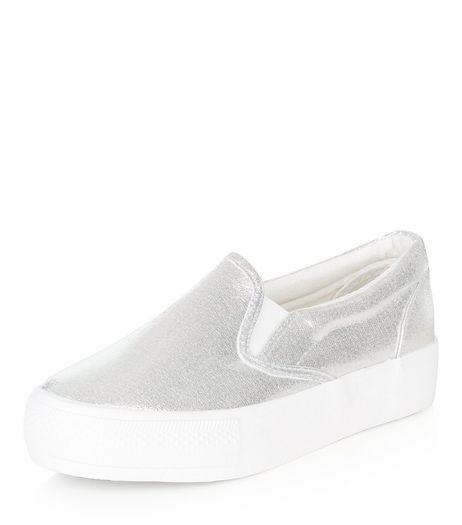Wide Fit Silver Flatform Slip On Plimsolls  | New Look