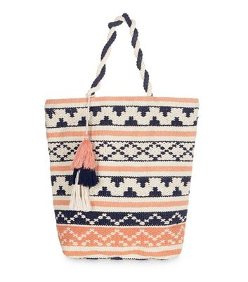 coral-stripe-tassel-shopper-bag