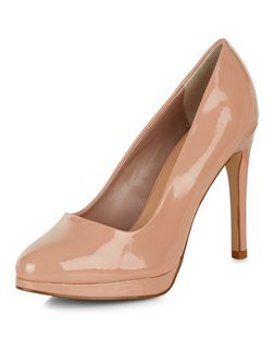 Stone Patent Pointed Court Shoes  | New Look