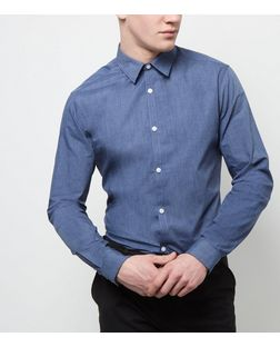 Blue Long Sleeve Cross Dye Shirt | New Look