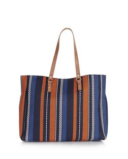 Blue Stripe Textured Shopper Bag | New Look