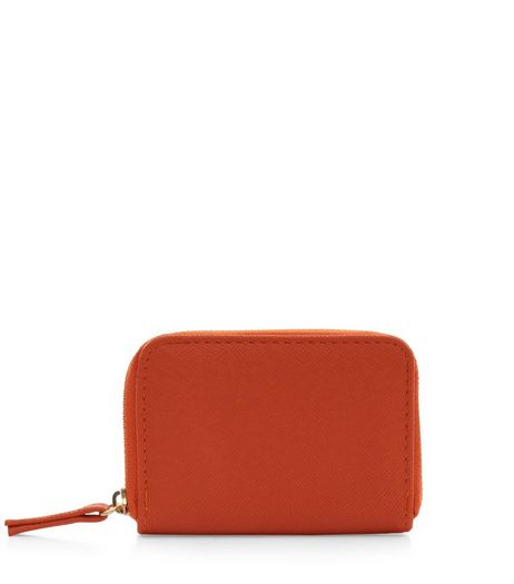 Orange Mini Zip Around Card Holder  | New Look