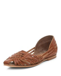 Tan Leather Woven Sandals  | New Look