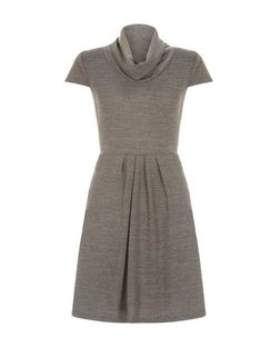 Apricot Grey Cowl Neck Pleat Dress  | New Look