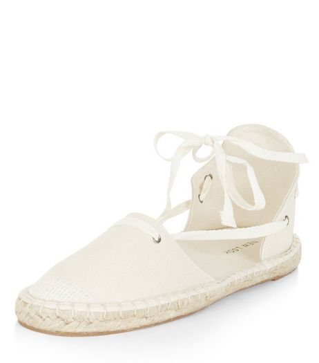 Cream Canvas Ghillie Espadrilles  | New Look