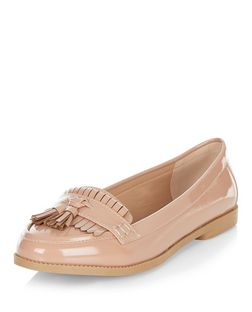 Stone Patent Fringe Loafers  | New Look