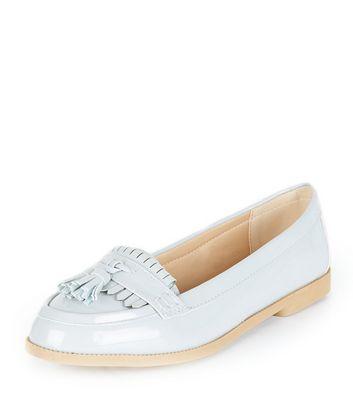 Mocassini  donna Pale Blue Patent Fringe Loafers