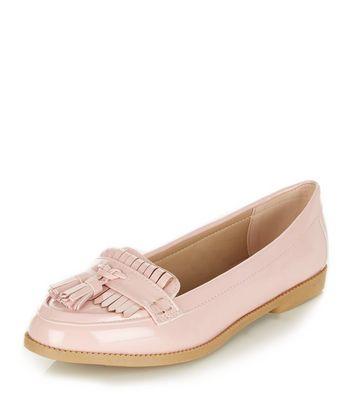 Mocassini  donna Pink Patent Fringe Loafers