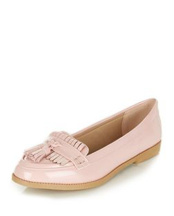 Pink Patent Fringe Loafers  | New Look