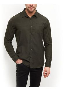 Khaki Single Pocket Long Sleeve Shirt  | New Look