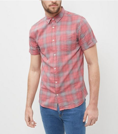 Red Check Washed Single Pocket Short Sleeve Shirt  | New Look