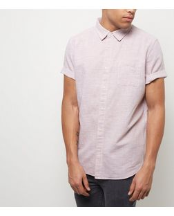 Red Textured Single Pocket Short Sleeve Shirt  | New Look