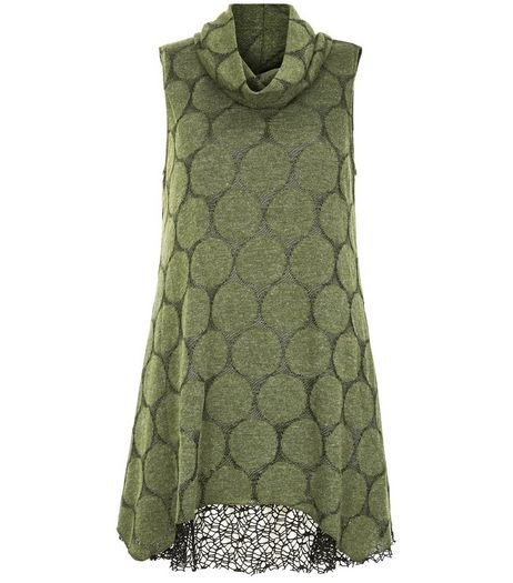 Apricot Green Dot Print Cowl Neck Tunic Dress | New Look