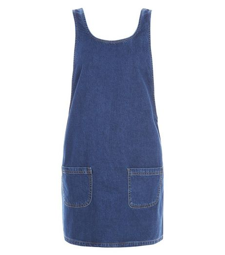 Blue Denim Double Pocket Pinafore Dress  | New Look