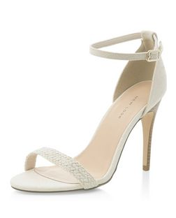 Cream Canvas Plaited Strap Heeled Sandals  | New Look