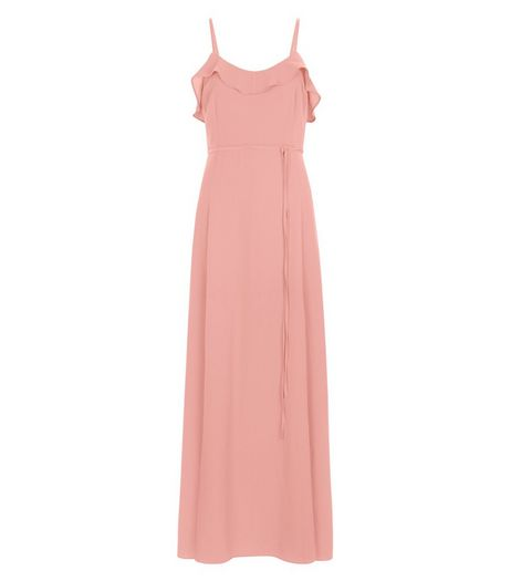Shell Pink Frill Trim Tie Waist Maxi Dress | New Look