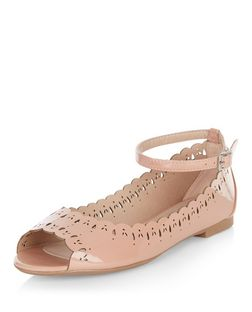 Teens Stone Patent Laser Cut Out Ankle Strap Pumps  | New Look