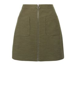 Khaki Textured Double Pocket Zip Front A-Line Skirt  | New Look