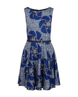 Cutie Blue Abstract Print Belted Dress | New Look