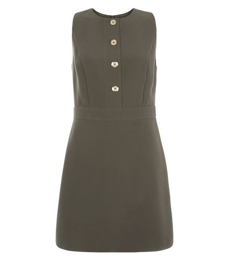 Khaki Button Front A-Line Dress  | New Look