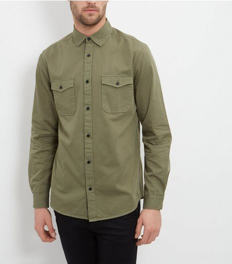 Khaki Double Pocket Long Sleeve Military Shirt  | New Look