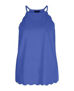 Blue Scallop Trim Cami  | New Look
