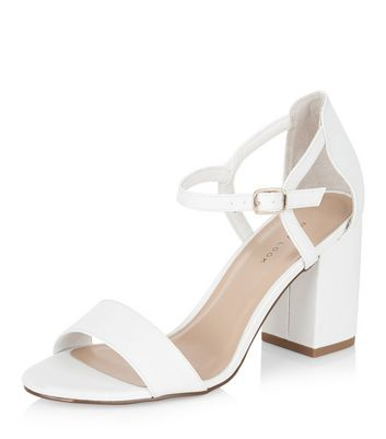 Sandalo  donna White Ankle Strap Block Heels