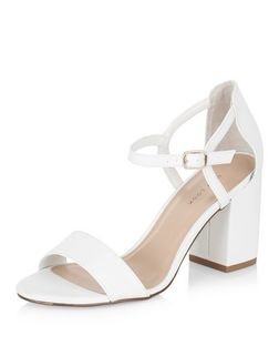 White Ankle Strap Block Heels  | New Look