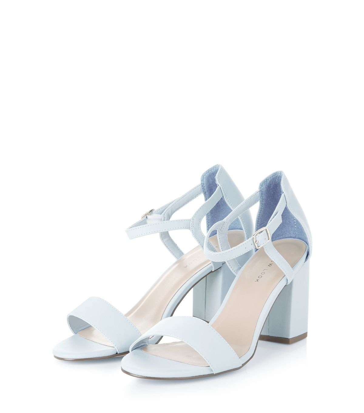Pale Blue Ankle Strap Block Heels  | New Look