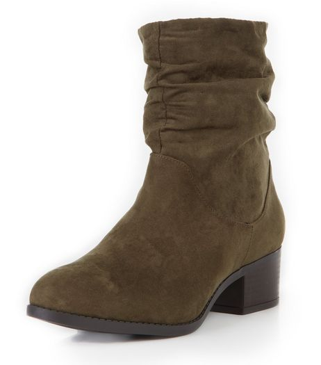 Wide Fit Khaki Suedette Ruched Boots  | New Look