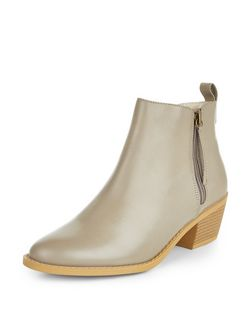 Wide Fit Grey Pointed Ankle Boots  | New Look