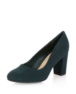 Wide Fit Dark Green Suedette Block Heel Court Shoes  | New Look