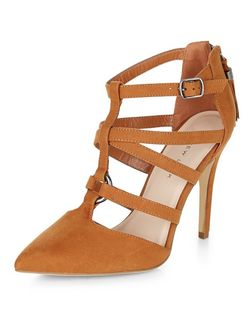 Wide Fit Tan Suedette Strappy Pointed Heels  | New Look