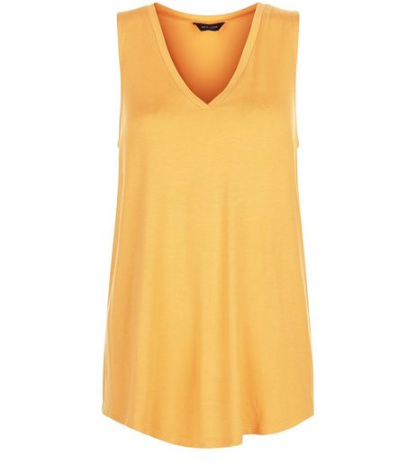Orange V Neck Swing Vest  | New Look