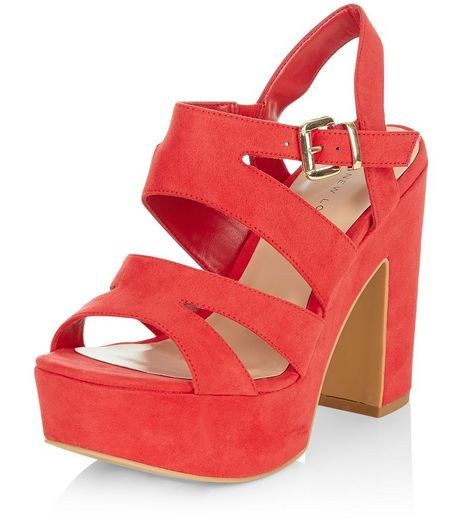 Wide Fit Red Strappy Platform Heels  | New Look