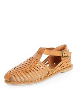 Teens Tan Leather-Look Caged Sandals | New Look