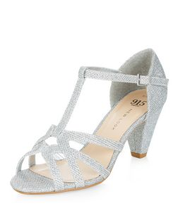 Teens Silver Glitter T-Bar Sandals | New Look